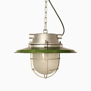 CCCP Industrial Hanging Light in Green Enamel