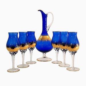 Juego de jarra y seis copas venecianas Mid-Century, años 50