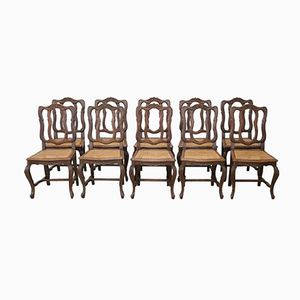 French Chestnut Chairs, 1890s, Set of 10