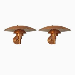 Lámpara de pared PH 4-5/3 de cobre de Poul Henningsen para Louis Poulsen, años 80