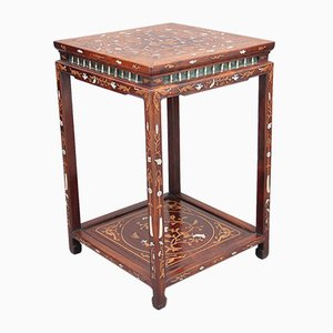 19th-Century Chinese 2-Tier Inlaid Occasional Table, 1880s