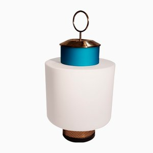 Lampe de Bureau Vintage en Verre Opalin & Laiton de Stilnovo