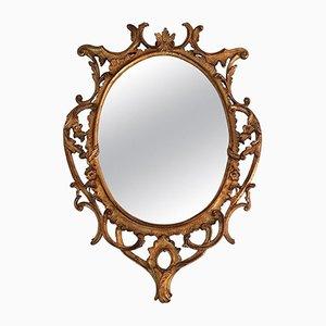 Espejo oval dorado tallado a mano, años 40