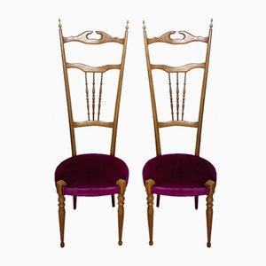 Italian Chiavari Chairs with High Backs, 1950s, Set of 2