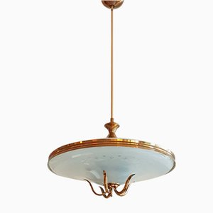 Italian Cut Glass & Brass Ceiling Lamp by Pietro Chiesa for Fontana Arte, 1940s