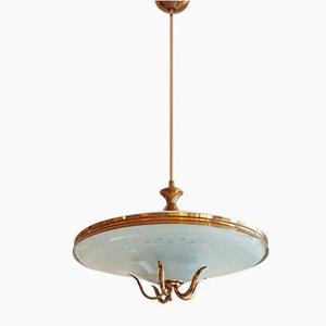 Italian Cut Glass & Brass Ceiling Lamp by Pietro Chiesa for Fontana Arte, 1940s