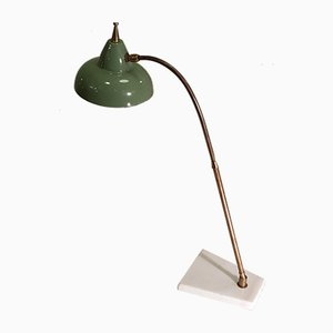 Vintage Metal, Brass & Marble Desk Lamp from Stilux