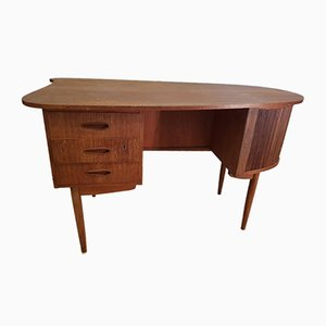 Danish Kidney Shaped Teak Desk with Tambour Door, 1960s