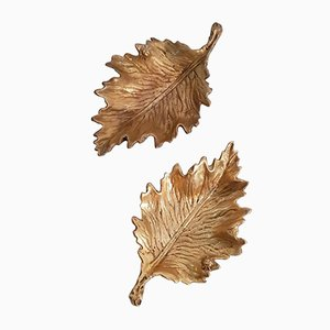 Mid-Century Bronze Leaf Trinket Trays, 1950s, Set of 2