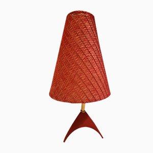 Lámpara de mesa vintage en rojo con trípode