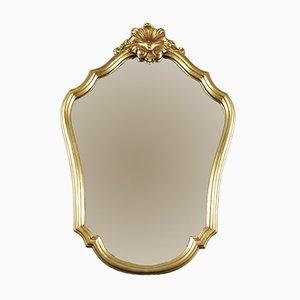 Espejo de pared francés con marco dorado, años 50