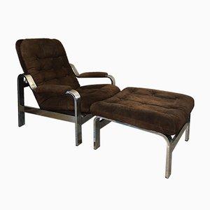 Silla reclinable vintage de ante y otomana, años 70