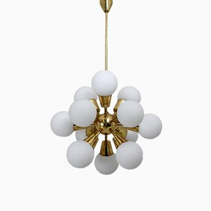 Sputnik Brass and Glass Chandelier, 1970s