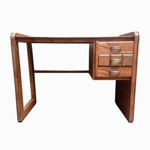 Small Walnut Veneer Desk, 1940s