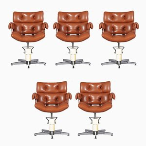 French Adjustable Swivel Chairs, 1970s , Set of 5