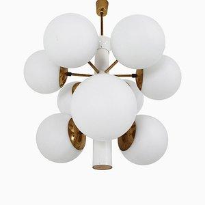 Lustre Sputnik Mid-Century avec Globes en Verre Opalin