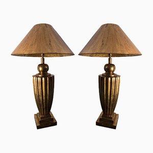 Goldene Art Deco Tischlampen, 1930er, 2er Set