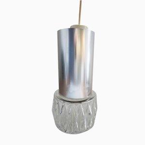 Lampadari in vetro e metallo cromato, anni '70