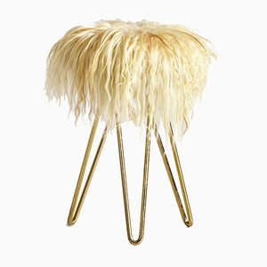 Vintage Furry Stool on Brass Legs, 1970s