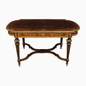 Mesa francesa antigua de madera con incrustaciones, década de 1880