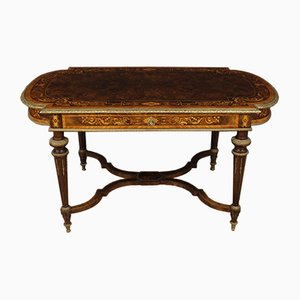 Tavolo antico in legno intarsiato, Francia, fine XIX secolo
