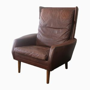 Mid-Century Danish Brown Leather High Back Armchair, 1970s