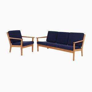 Canapé 3 Places et Fauteuil Vintage par Hans J. Wegner pour Getama