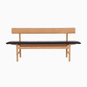 Oak and Leather Bench by Borge Mogensen for Fredericia, 1950s