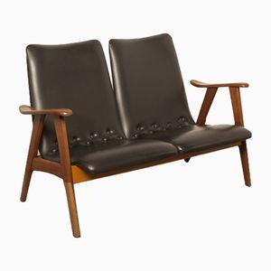 Canapé 2 Places Noir Vintage par Louis van Teeffelen pour Wébé