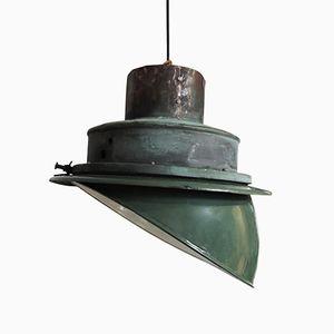 Mid-Century Industrial Angled Enamel Pendant Lamp, 1950s