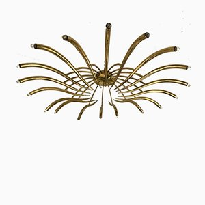 Italian Brass Ceiling Chandelier by Oscar Torlasco for Lumi, 1960s