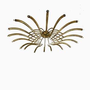 Lámpara de araña italiana de latón de Oscar Torlasco para Lumi, años 60