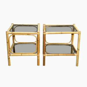 Rattan and Smoked Glass Nightstands, 1970s, Set of 2