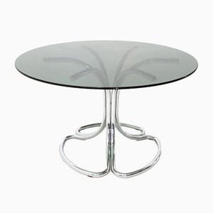 Mid-Century Italian Chrome and Smoked Glass Table, 1970s
