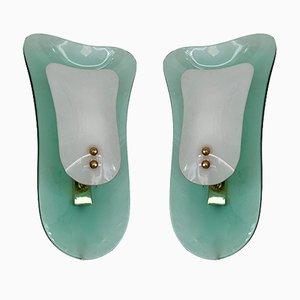 Apliques italianos de vidrio opalino y latón de Cristal Art, años 60. Juego de 2