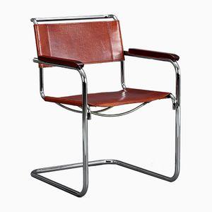 Freischwingender S34 Stuhl mit Sitz aus cognacfarbenem Leder von Mart Stam für Thonet, 1980er