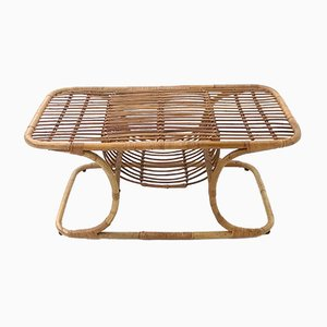 Table Basse Rectangulaire Mid-Century en Osier, 1950s