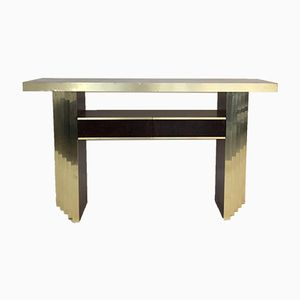 Italian Golden Brass And Loupe Console, 1970s