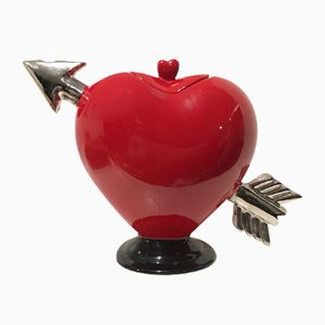 Red Heart Pierced By A Silver Arrow Teapot from Rising Hawk Studio, 1970s