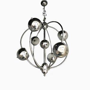 Lámpara de araña Sputnik italiana de metal cromado, años 70