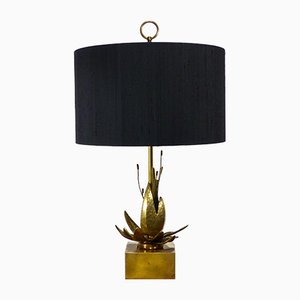 Vintage Exotic Flower Brass Table Lamp
