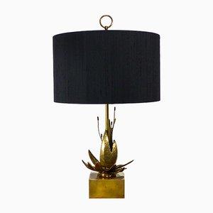Vintage Tischlampe aus Messing mit exotischer Blume