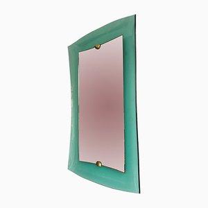 Espejo italiano de vidrio y latón de Cristal Art, años 60