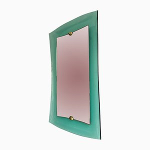 Italian Glass and Brass Mirror from Cristal Art, 1960s