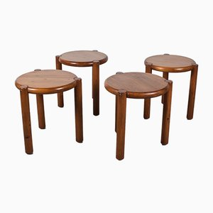 Vintage Dutch Pine Stools, 1970s, Set of 4