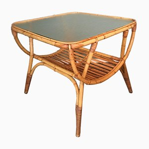 Rattan Side Table by Dirk van Sliedrecht for Rohé Noordwolde, 1950s