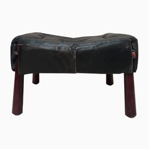 Leather & Rosewood Ottoman from Percival Lafer, 1970s