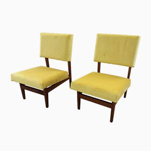 Teak & Velvet Lounge Chairs, 1958, Set of 2
