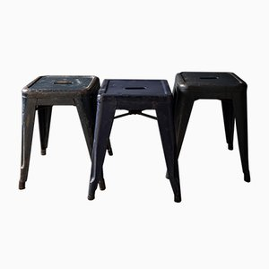 Industrial Blue Stools by Xavier Pauchard for Tolix, 1940s, Set of 3