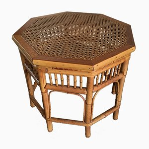 Rattan and Wicker Side Table, 1950s